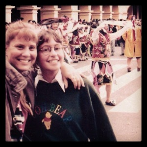 Heather and me at a parade in Lima, Peru in '99