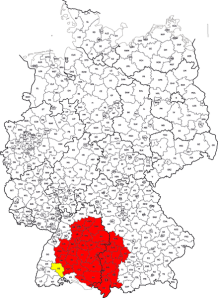 Modern Map of Germany with Swabia highlighted.