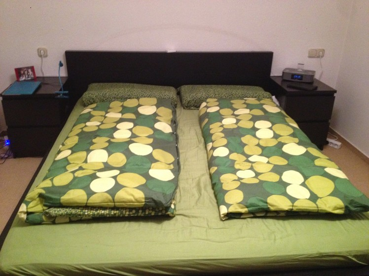 Our bed! Oh how pretty!