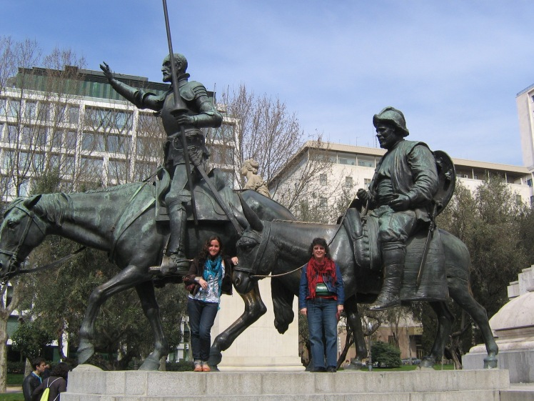 With my mamita in Madrid at the statue of Don Quixote and Sancho Panza