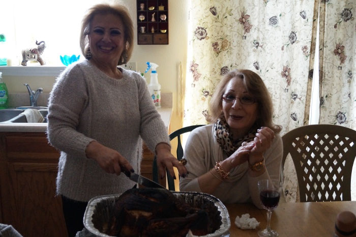 My Tias carving the deep fried turkey :-)