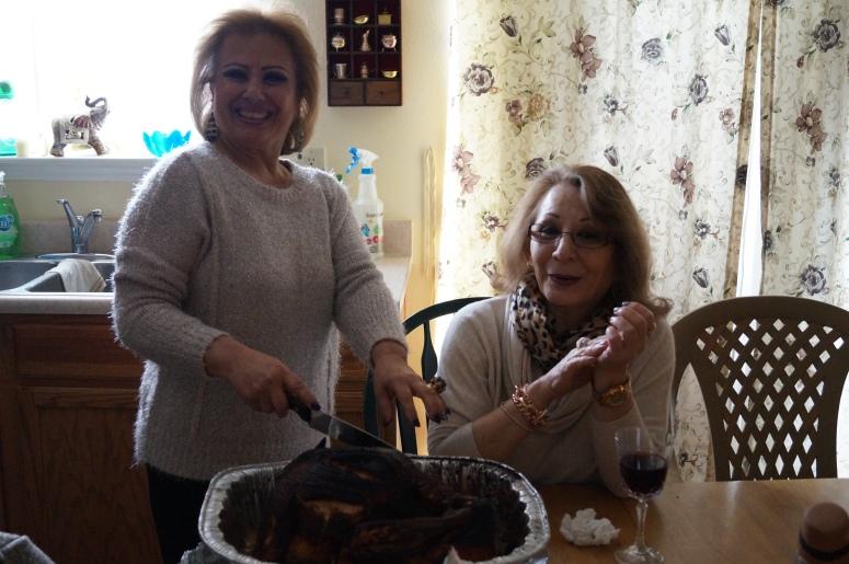 My Tias carving the deep fried turkey :-)
