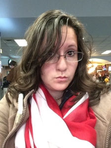 Me waiting for my flight to Indy.....already passed my bedtime at this point...