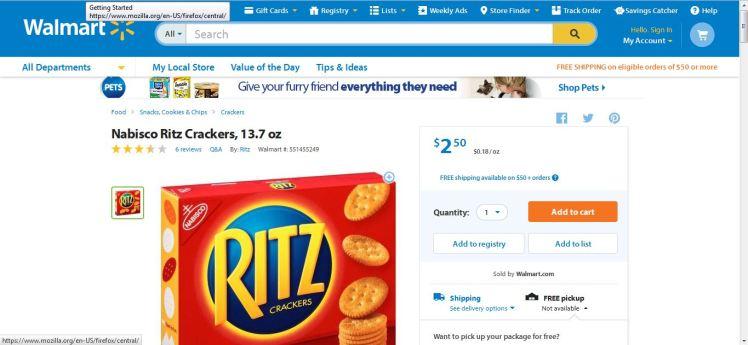 Walmart Ritz Crackers