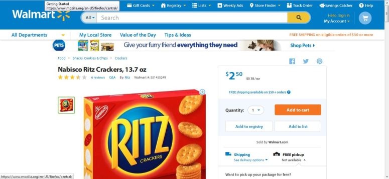 Walmart Ritz Crackers