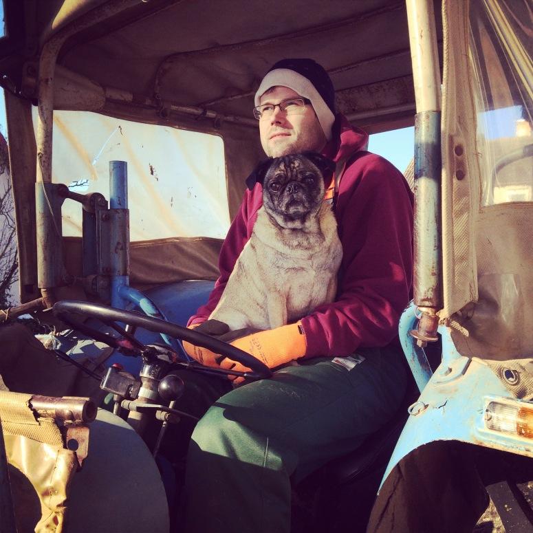 He rides in tractors
