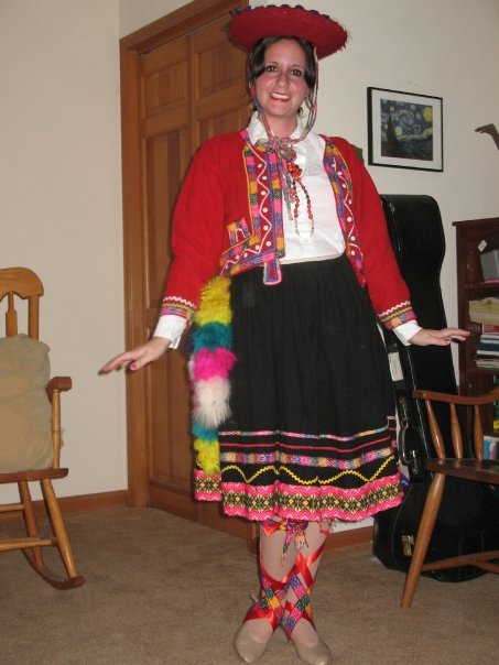 Dressed in traditional Peruvian dress back in senior year of college