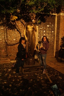 Mom, Abner, and I at the statue of Juliette in Verona