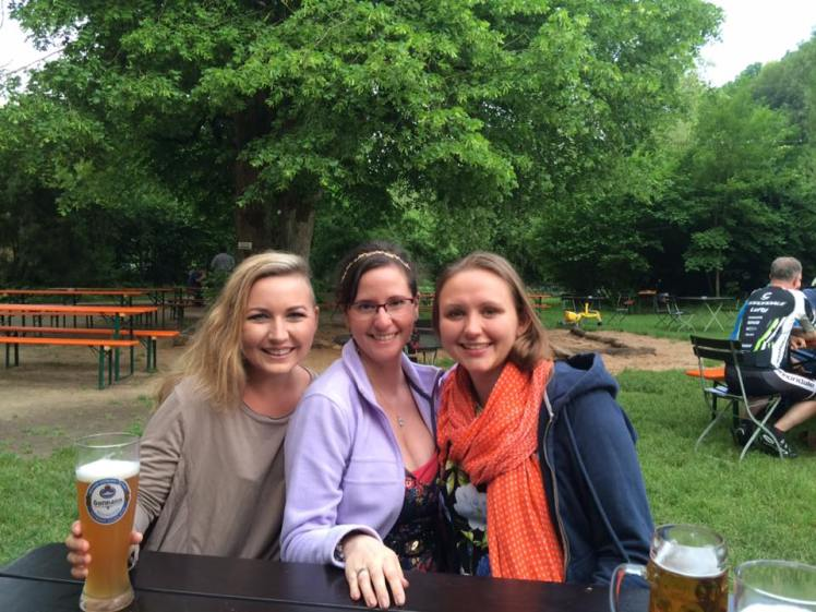 A, myself, and K at a Biergarten the evening before the family invasion ;-)