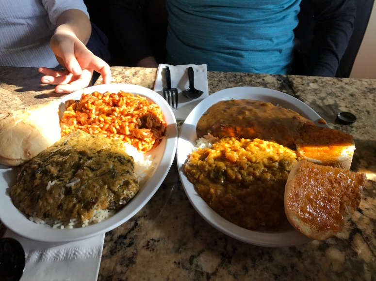 Left Back: Jambalaya Left Front: Spinach and Mushroom Etoufee Right Back: Chili Cheese  Etoufee with Crawfish Right Front: Curry Chicken